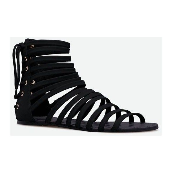 Justfab Flat Sandals Brinton (785 MXN) ❤ liked on Polyvore featuring shoes, sandals, black, black sandals, strap sandals, strappy sandals, flat pumps and flat strap sandals