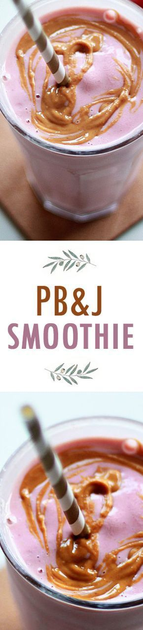 PB&J Smoothie recipe: A tasty - and surprisingly satisfying - smoothie recipe inspired by everyone's favorite sandwich, peanut butter and jelly. Vegan.