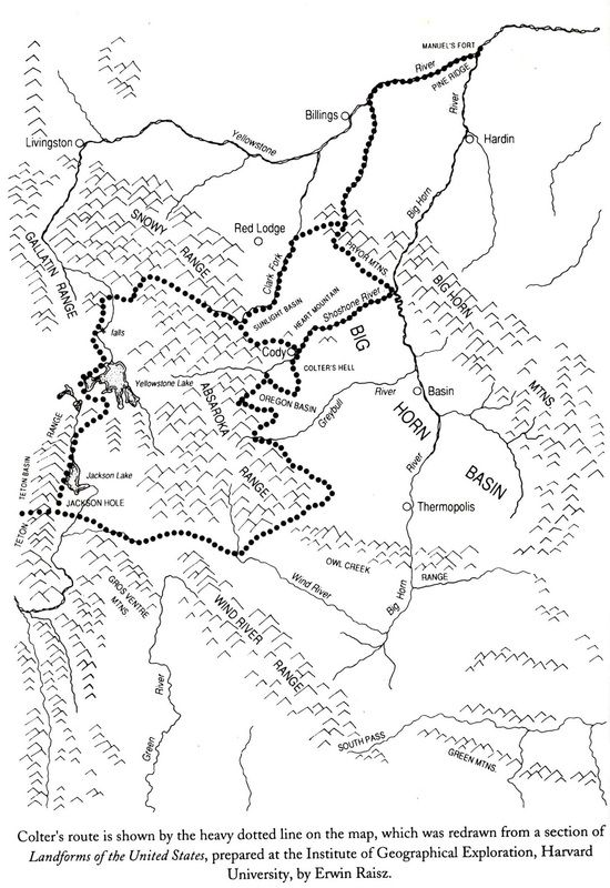 Map showing John Colter's Solo Trek in 1807-8 from Fort Raymond and into Yellowstone.