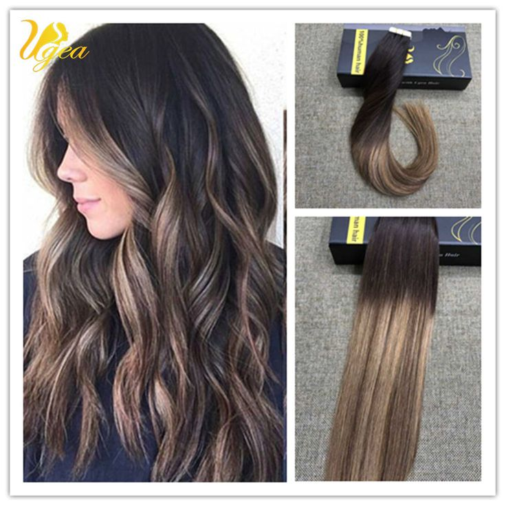 European Ombre Off Black Dark Brown PU Tape in Human Hair Extensions Remy Hair #Ugea #StraightBundle