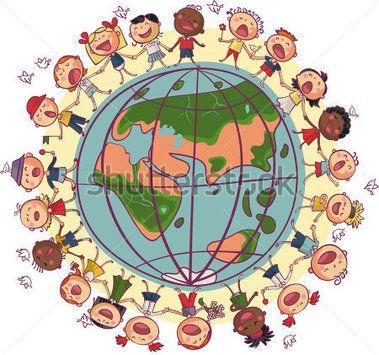 Enfants est dansant et chantant en cercle autour de la terre