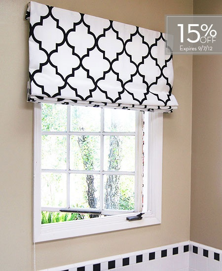 Contemporary Cotton Roman Shades for breakfast nook and/or playroom