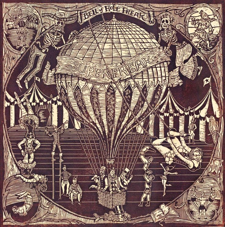"Belly Hole Freak ""Superfreak"" Cover Album (linocut etching) by Susanna Doccioli"