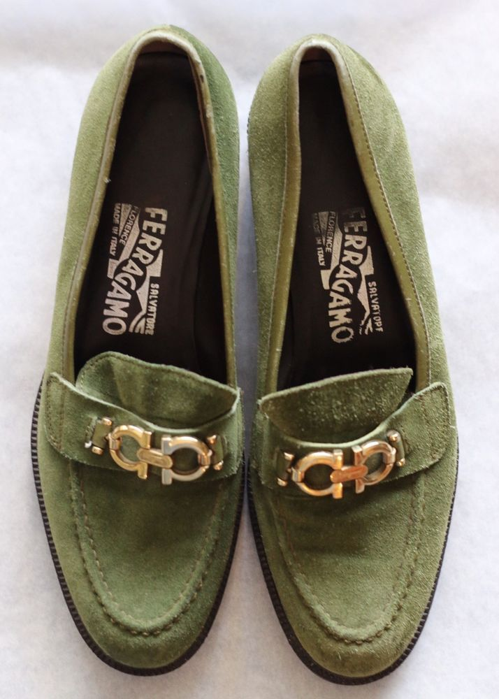 452c76379da1 80s Vintage Salvatore Ferragamo Women's Suede Olive Green Loafers Size 5.5  #fashion #clothing #shoes #accessories #womensshoes #flats (ebay link)