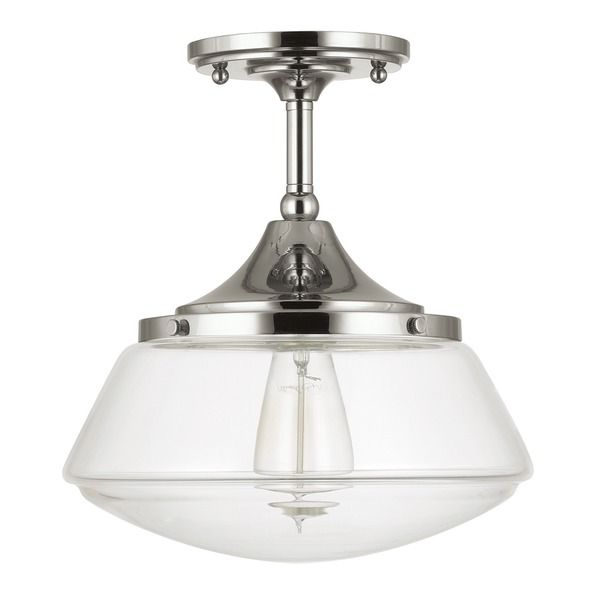 Capital Lighting Retro School House Collection 1-light Polished Nickel Flushmount  sc 1 st  Pinterest & 78 best lighting | industrial images on Pinterest | Industrial ... azcodes.com