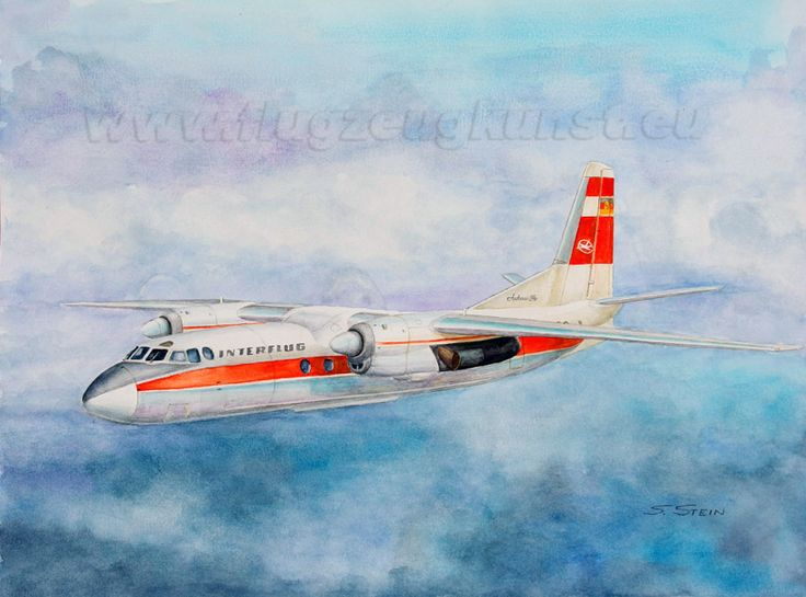 Antonov An-24W follow from 1965 to 1975 at the East German Interflug. Watercolor 40cm x 30cm www.flugzeugkunst.eu