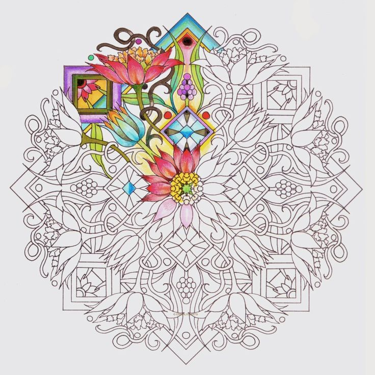 Partially colored mandala design from one of Cynthia Emerlye's upcoming books.