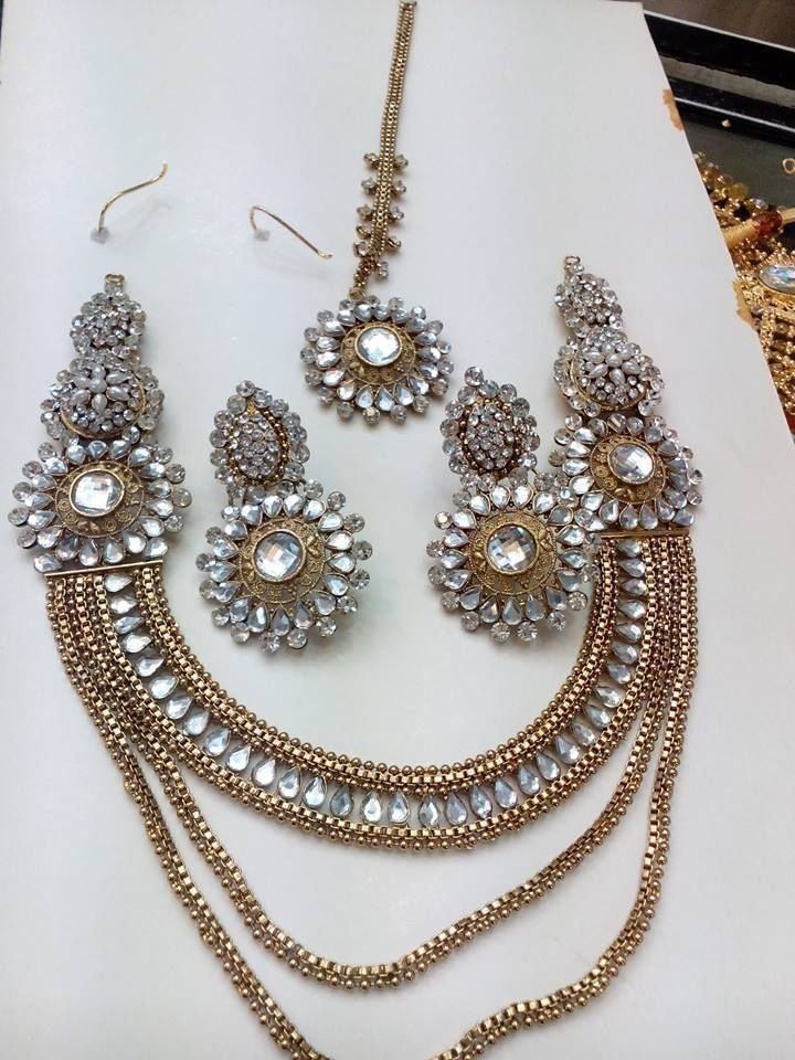 Pakistani Indian Bollywood Polki Pearl Kundan CZ AD Necklace Earrings Teeka Set #HandmadeIsharyaRitaniAmritaSinghBeesZaveri