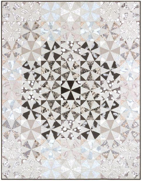 Mosaic Mirage designed by Janice Ryan for Robert Kaufman Fabrics. Features Black and White by Jennifer Sampou  shipping to stores January 2017. FREE pattern available in January 2017 (robertkaufman.com) #FREEatrobertkaufmandotcom