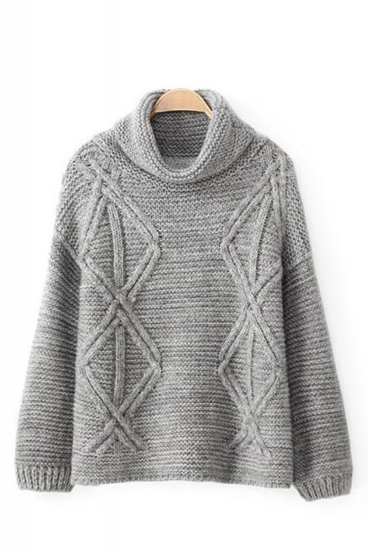 Sweater Love! Cozy Grey Turtleneck Long Sleeve Loose Sweater