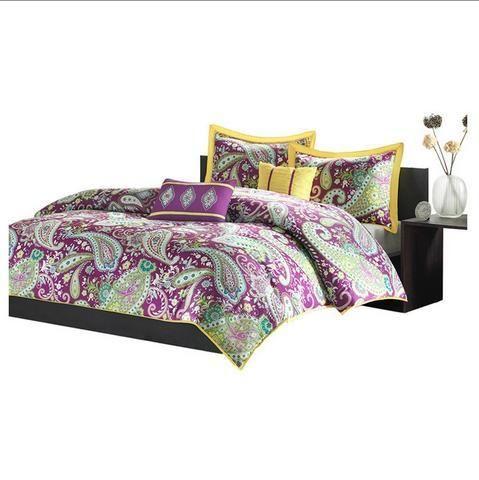 Purple White Yellow Comforter Set in Paisley Print  #freeshipping ...
