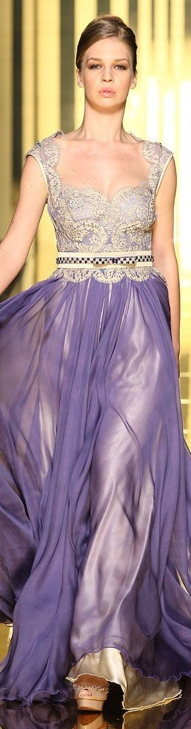 Esquisite Detail luv the Lavender Chiffon and Gold Lace Bodice Gown by..Mireille Dagher 2013 haute couture
