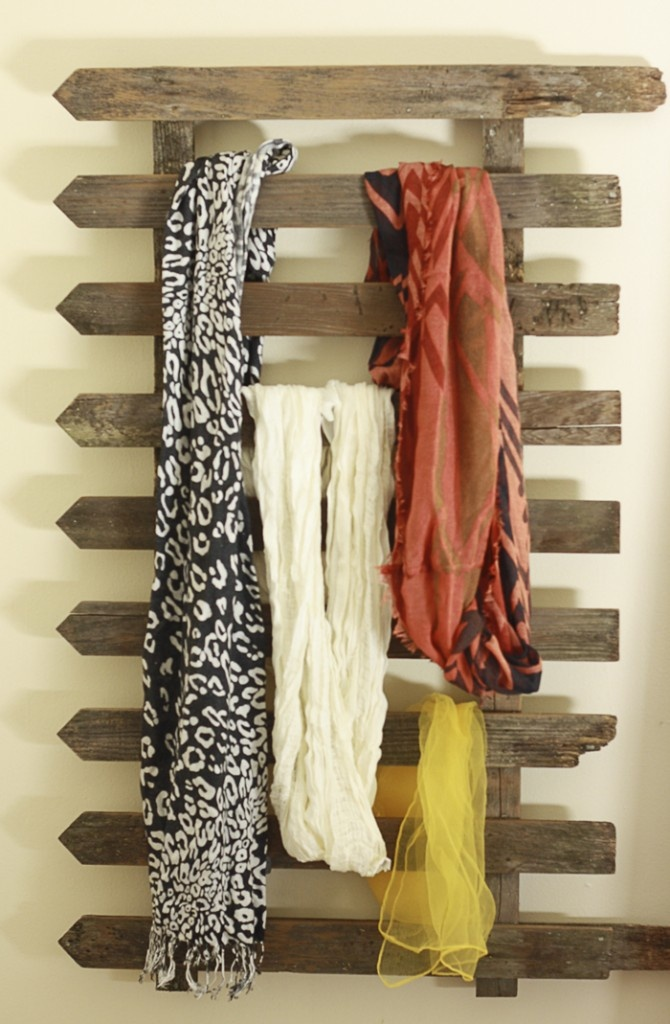 Fence as a scarf holder... Paint the fence to personalize to your style or theme of room. :)
