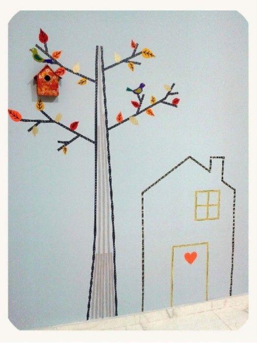Pretty And Easy DIY Washi Tape Wall Decor Idea In Autumn Style | Kidsomania