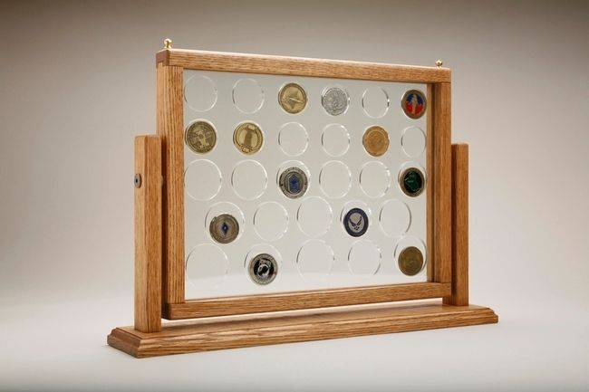 """Challenge coin display, Medium Swing Coin Display  This is medium swing design coin display. Its size 22"""" long, 4"""" wide & 14"""" tall. Each dis..."""