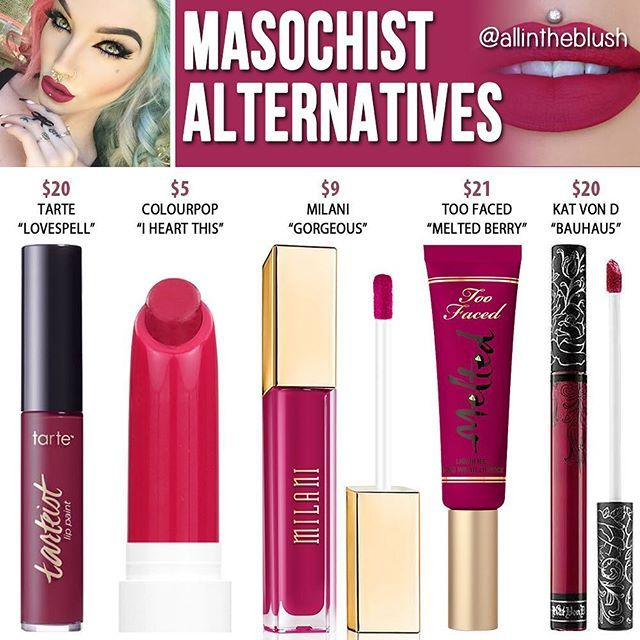 Dupes for Jeffree Star's Masochist lipstick @allintheblush