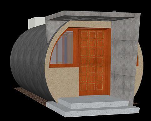 estudio desarrollado a partir de dos tubos hormigon armado de 3000, dispone de hall-cocina, dormitorio y aseo