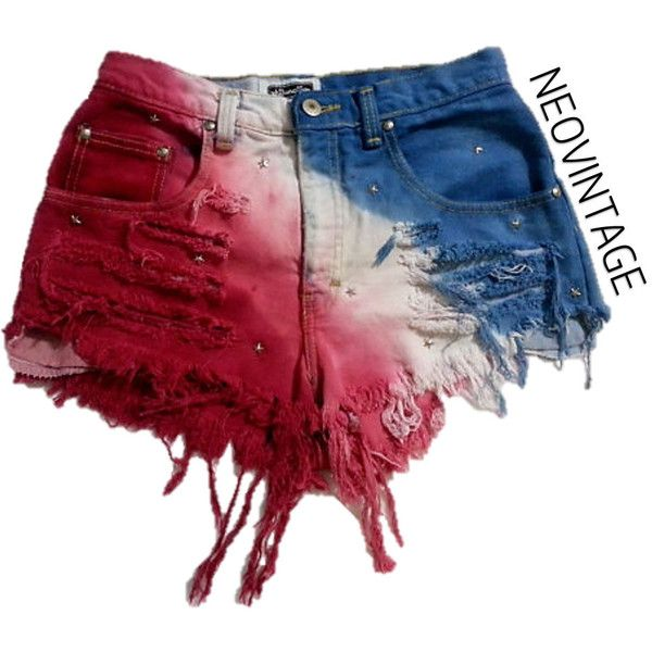Patriotic American Flag Fourth of July Tie Dyed High Waisted Hipster... ($20) ❤ liked on Polyvore featuring shorts, bottoms, grey, women's clothing, high rise denim shorts, jean shorts, studded high waisted shorts, tie-dye shorts and high rise shorts