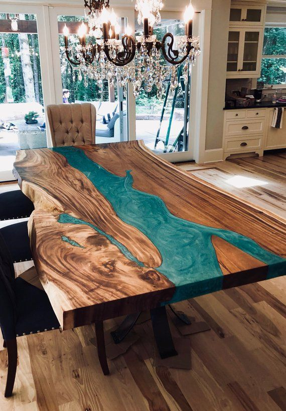 This Was A Custom Designed Hand Made Dining Table Made With Golden Acacia Wood An Epoxy Resin River With Custom Wood Resin Table Epoxy Wood Table Furniture