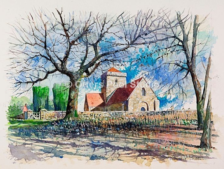 """St. Martha's Church"" by Leonard Curtis.   Limited edition fine art giclee print from an original watercolour.  Edition of 100.  Image size 33x25cm approx."