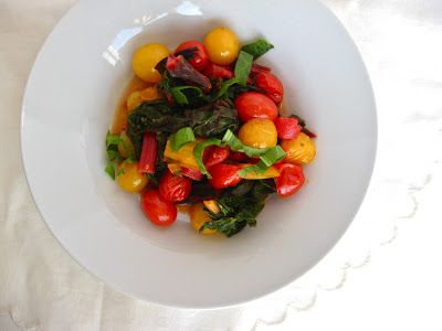 Rainbow chard, baby tomatoes, and sorrel, delicious side!
