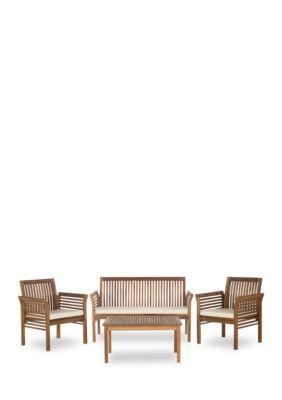 Safavieh Carson 4-Piece Outdoor Furniture Set - Teak Look/Beige - 26 In.