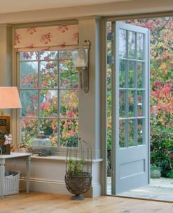 "magicalhome: "" A room that opens out to the garden on balmy days, but also has lots of windows to enjoy it from inside. Westbury Garden…"