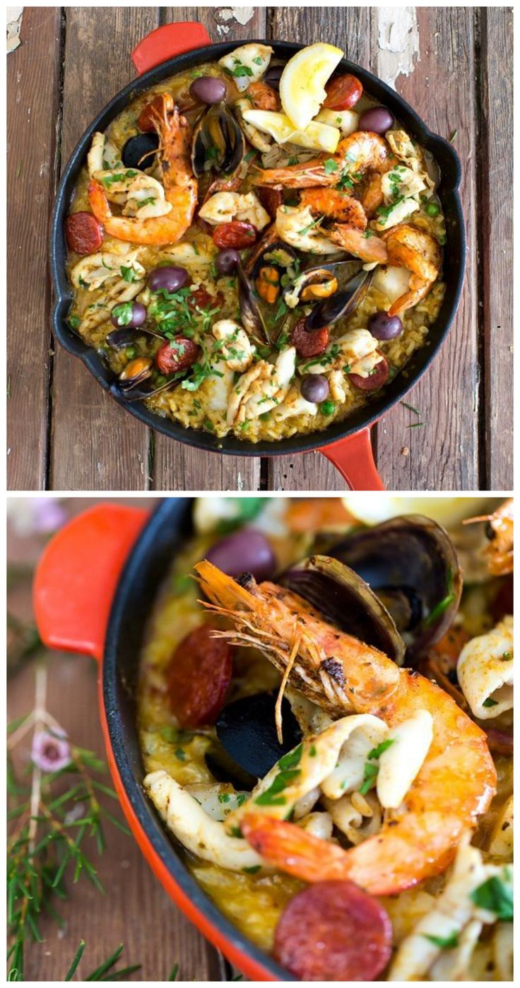 Seafood Paella ....... A real festive, non-fuss, one pot meal, packed with Spanish flavors. Here is a simple but traditional seafood paella recipe, that is used all over Spain