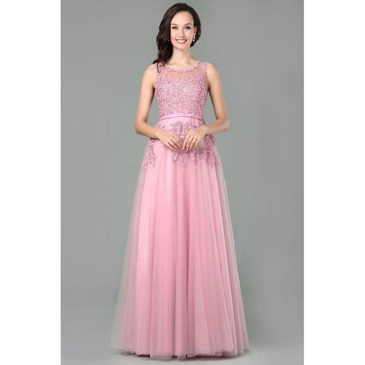 Dlhé princeznovské šaty s čipkou ružové