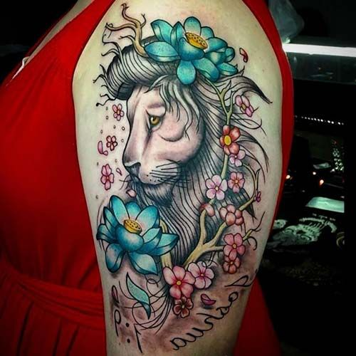 girly floral lion tattoo for woman arm çiçekli masum aslan dövmesi bayan