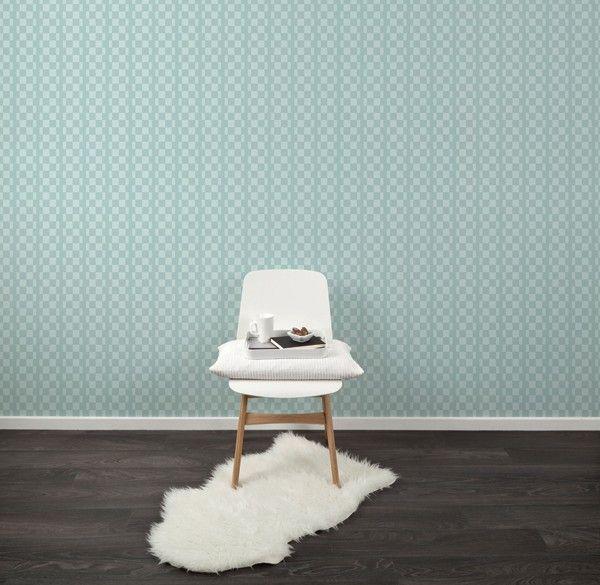Behang Retrosquare Pastelgreen - Behangpapier - Muur