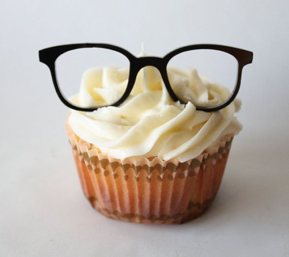 12 Vintage Geek Glasses Cupcake Toppers by ThroughThickandThin, $15.00