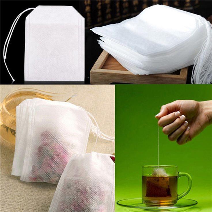 2017 Hot 100pcs Non Woven Empty Tea Bags String Seal Filter Herb Loose Disposable Tea Bags Convenient Essential Tools