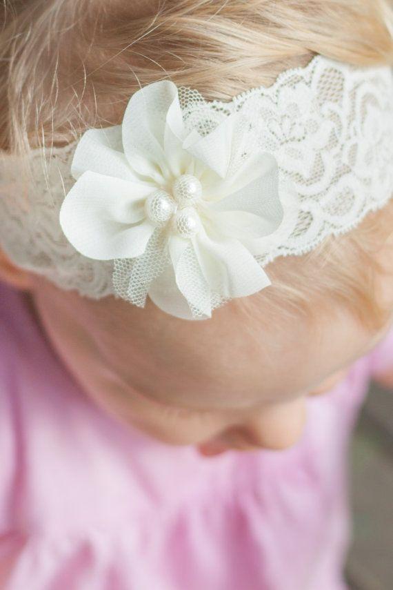 lace baby headband lace christening headband by LaCharDesigns, $8.20