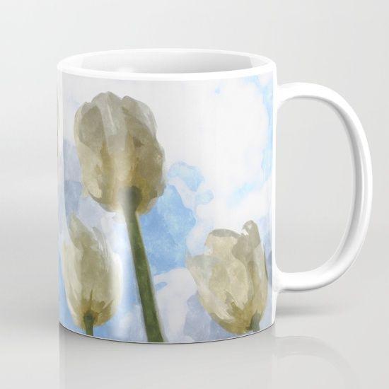 White tulips and cloudy sky digital watercolor by Natalia Bykova Mug on Society6. #mug, #cup, #Society6, #tulips