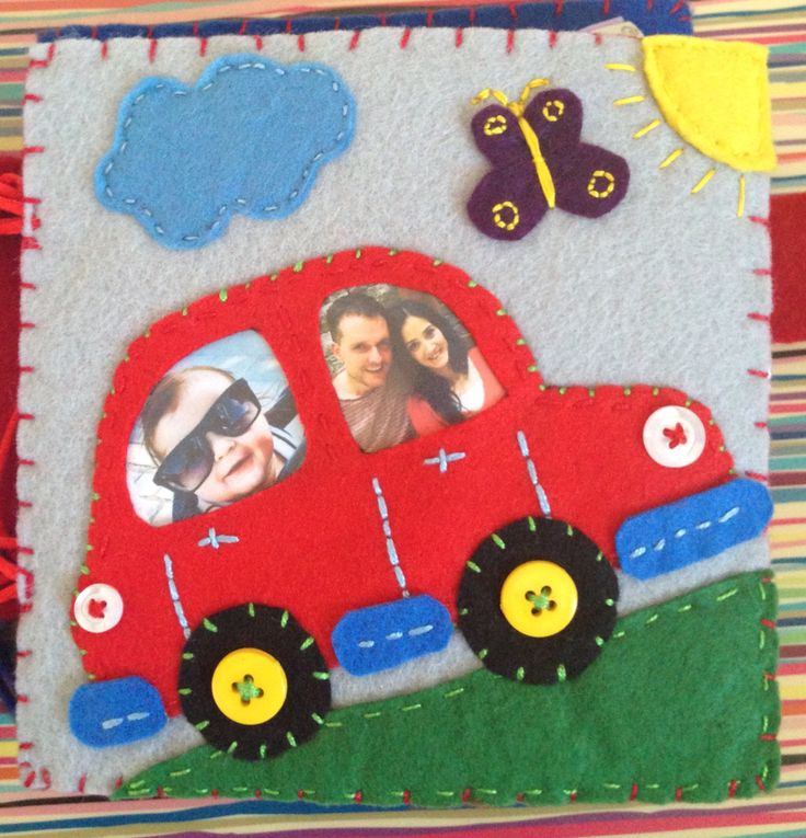 Felt Quiet Books - Personalized Go For A Ride Page, this book is made for one year old Mila. I printed out her and her mom and dad's pictures, inserted them under the windows of the red felt car, cover them with vinyl and sew the vinyl to the page. It was fun for Mila to see herself and her mom and dad's picture in her quiet book ;))