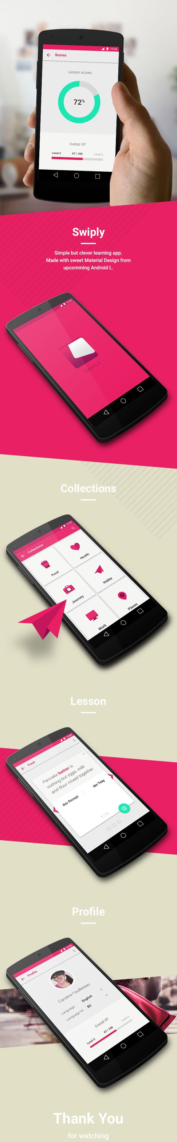 Swiply - Learning App ANDROID L by Piotr Radziwon, via Behance - Material Design