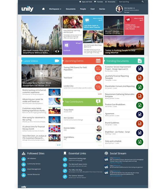 Unily Intranet built on Microsoft Office 365 and SharePoint online