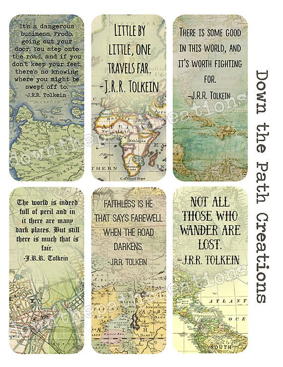 Travel Bookmarks Set Of 6 Instant Download Printable Tolkien Quote Vintage Maps Antique Map Book Mark Diy Travel Journal Vintage Printables Vintage Maps