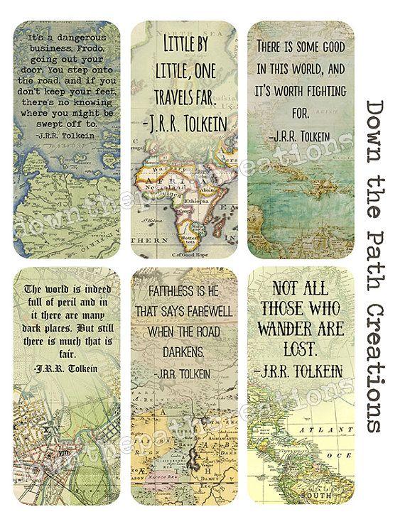 Travel Bookmarks Set Of 6 Instant Download Printable Tolkien