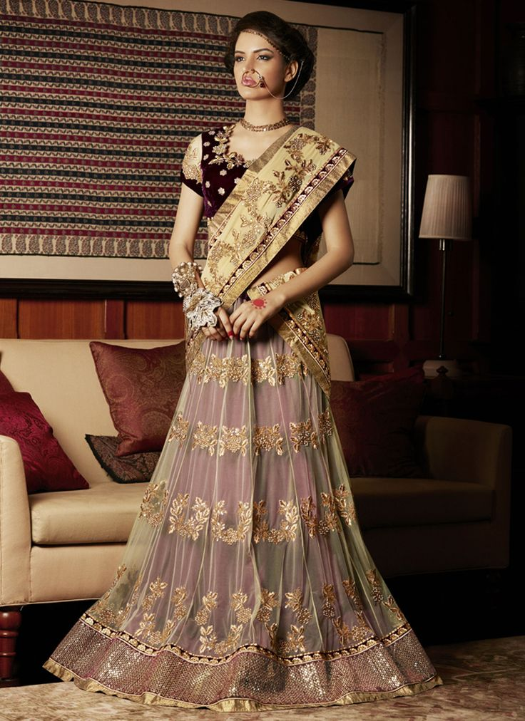 Grandiose Cream and Maroon Patch Border Work Lehenga Saree