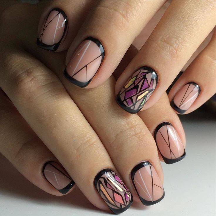 Black french manicure, Broken glass nails, Festive nails, french manicure news 2016, French on short nails, Moon French manicure, Nail designs for short nails, New year french nails 2017