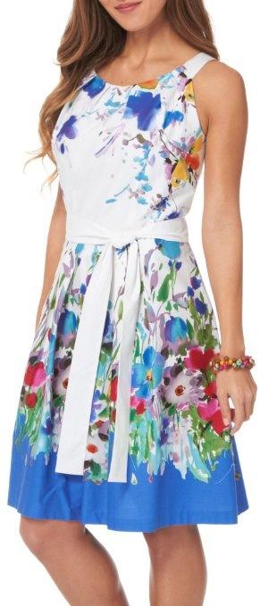 R & K Colorful Floral Border Print Belted Dress