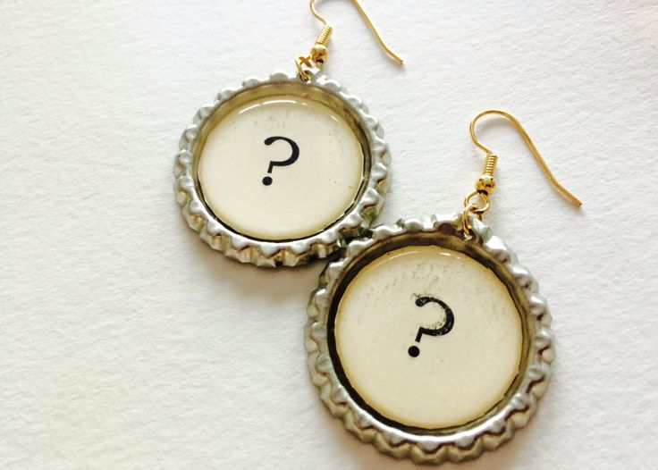 Quirky bottle cap earrings which have a vintage feel to them. I'm really pleased with how these turned out.