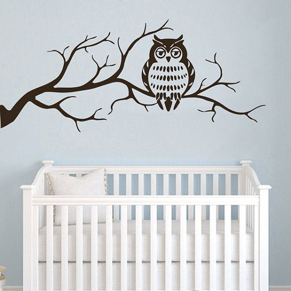 Wall Decals Owl on Branch Childrens Decor Kids Vinyl Sticker Wall Decal Nursery Baby Room Bedroom Murals Playroom - Owl Decor