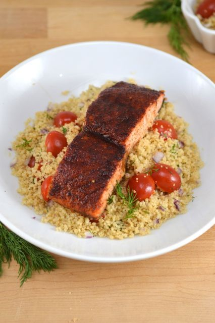 Maple Glazed Salmon with Couscous - Heart Healthy recipe for American Heart Health Month!