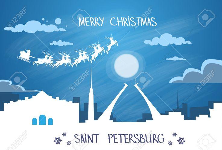 Санта-Клаус Сани Олень Fly Русский Небо над Санкт-Петербург Город Силуэт Ночь Cityscape снег Skyline Рождество Новогодняя открытка векторной иллюстрации