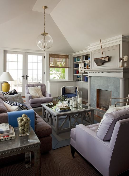 Philip Gorrivan Design Gray And Lilac Living Room Chic Cottage With