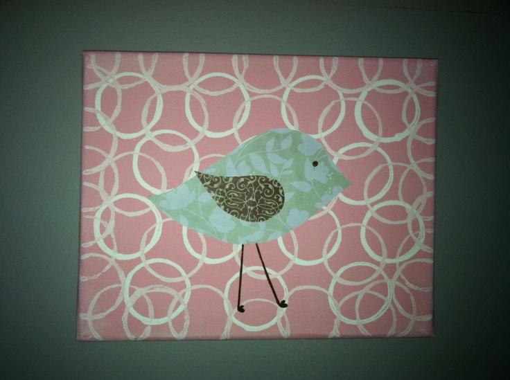Easy diy bird pic canvas and fabric home ideas for Bird nursery fabric