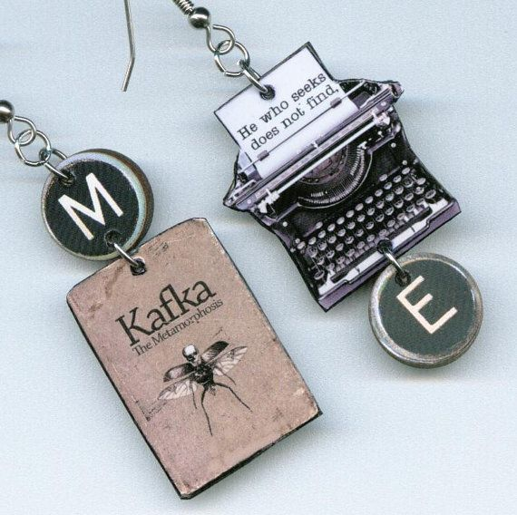 The Metamorphosis Book Cover Earrings Franz by DesignsByAnnette, $17.00